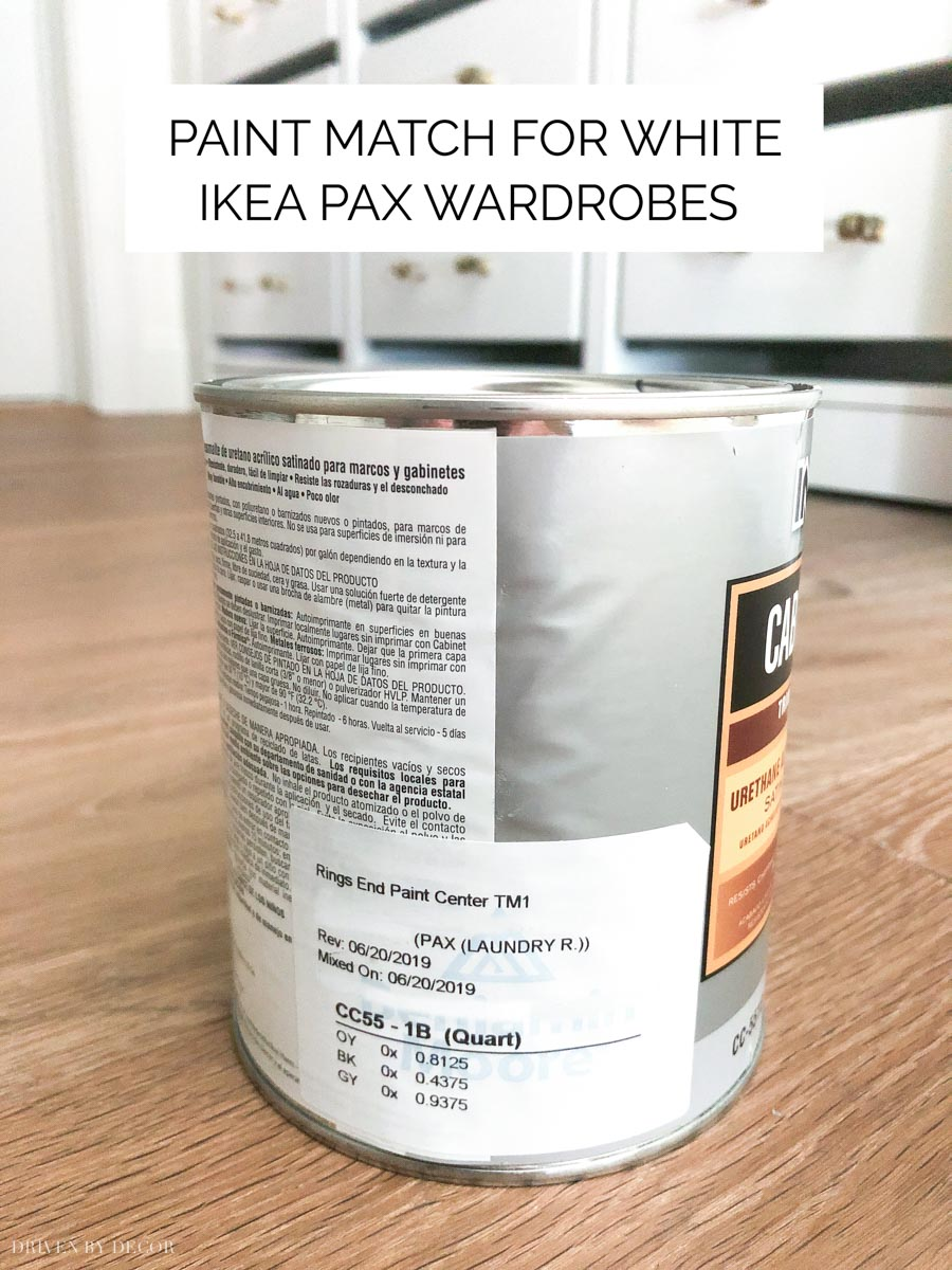 A great paint color match to white IKEA PAX wardrobes!