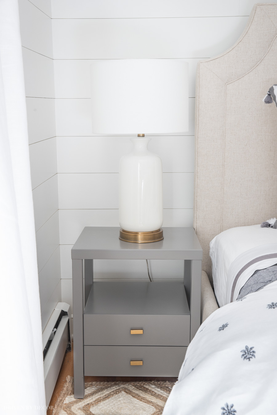 This narrow gray bedroom nightstand is perfect for small spaces!!