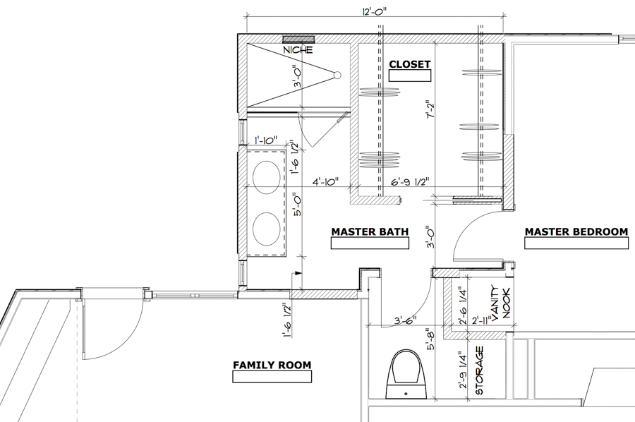 Plans for a 120 square foot master bathroom addition