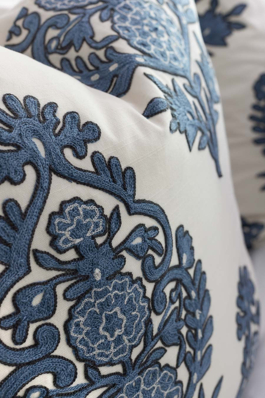 These blue and white embroidered pillow covers are gorgeous!!!