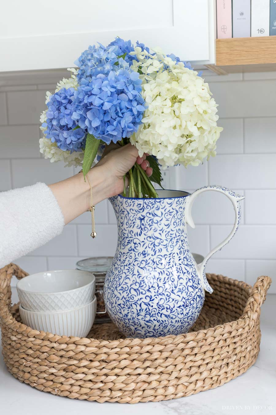 Loving this blue and white pitcher! So pretty as a vase!
