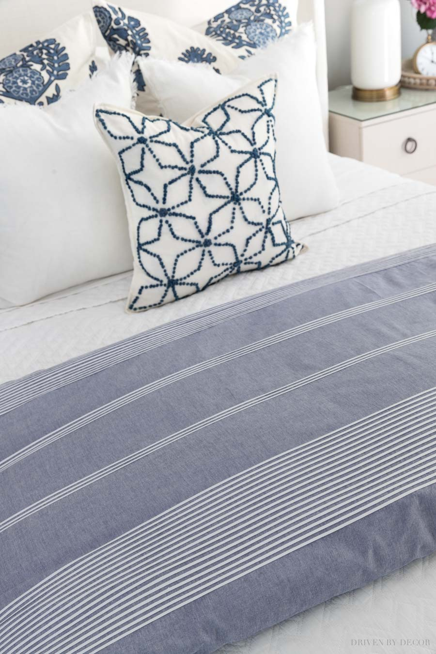 Gorgeous blue and white stripe duvet cover! One of the essentials in this helpful bed making 101 post!