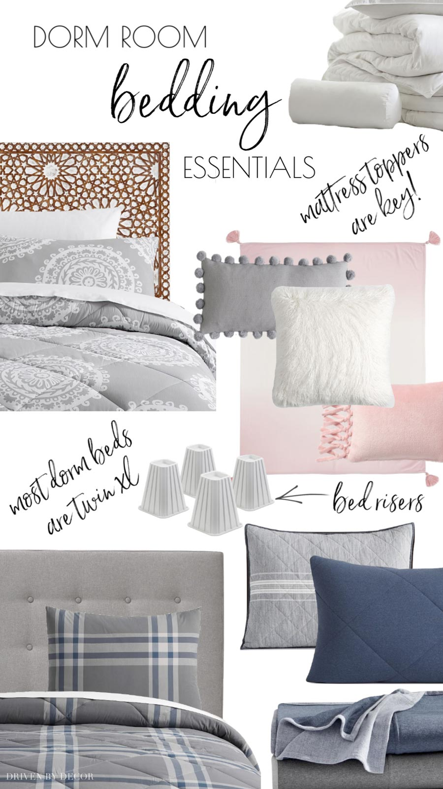 Great college dorm room checklist with all of the bedding items you'll need!