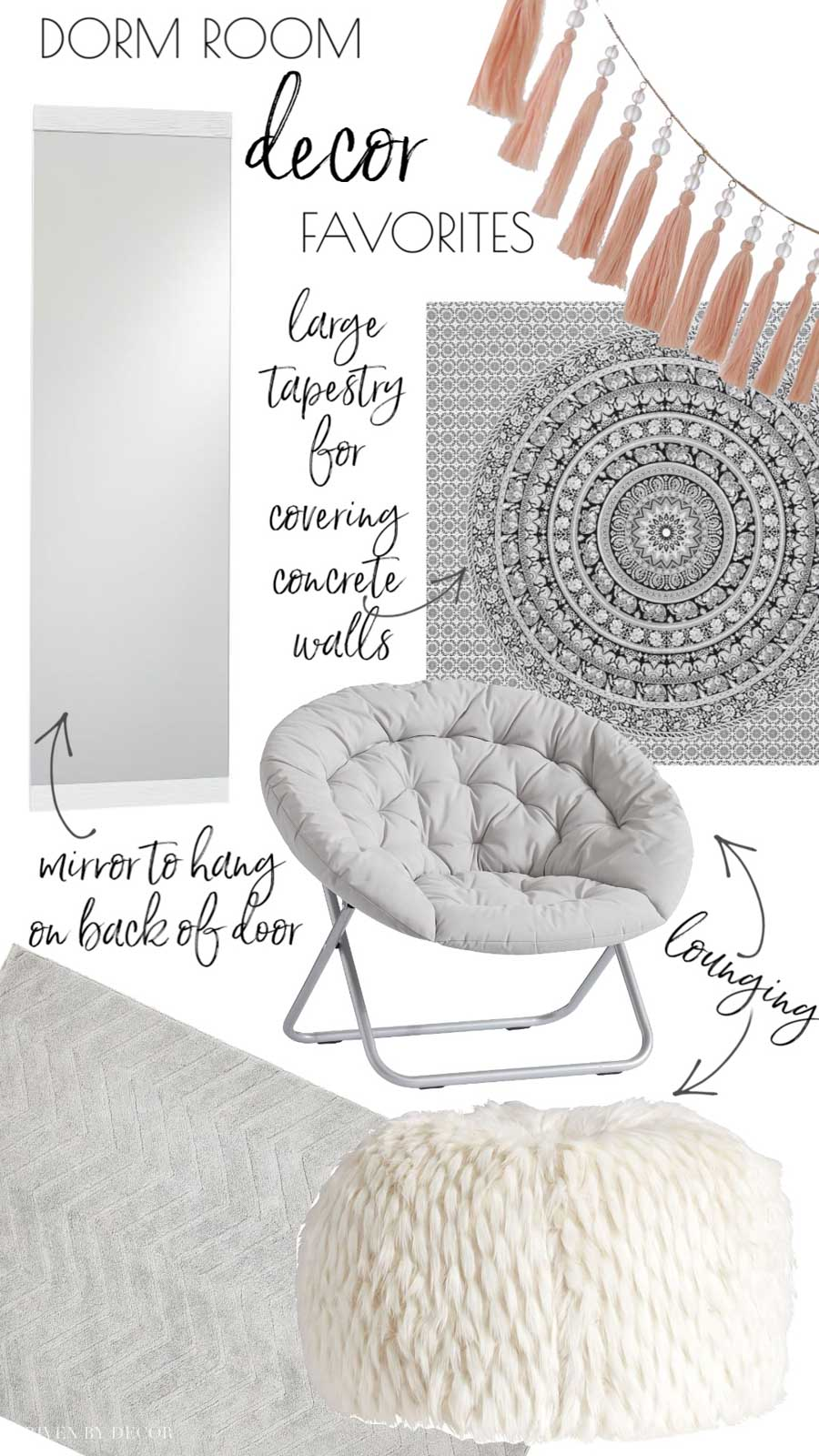 LOVE all of these ideas for college dorm room decor! Includes helpful checklist!