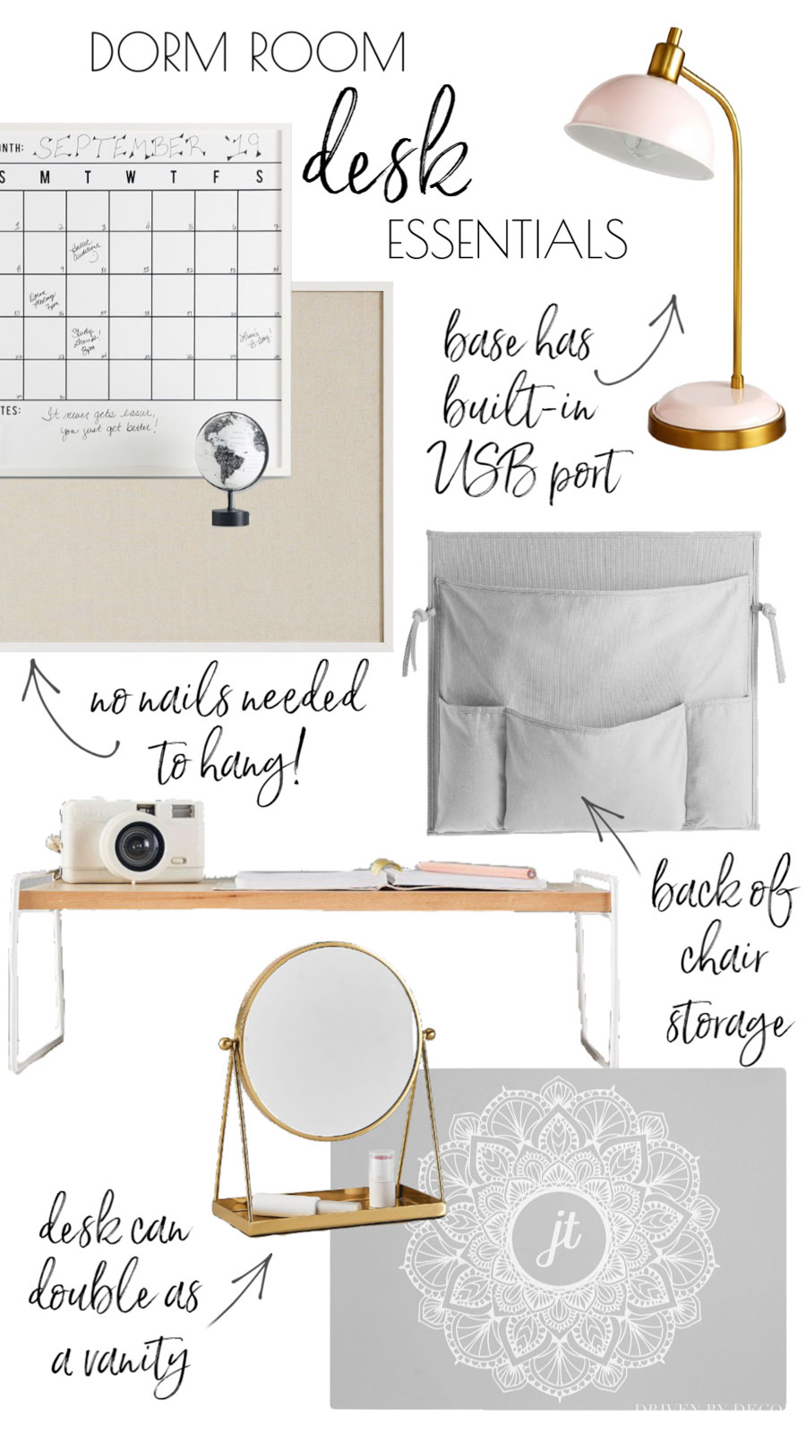 So helpful! A college dorm room checklist with all of the desk items you'll need!