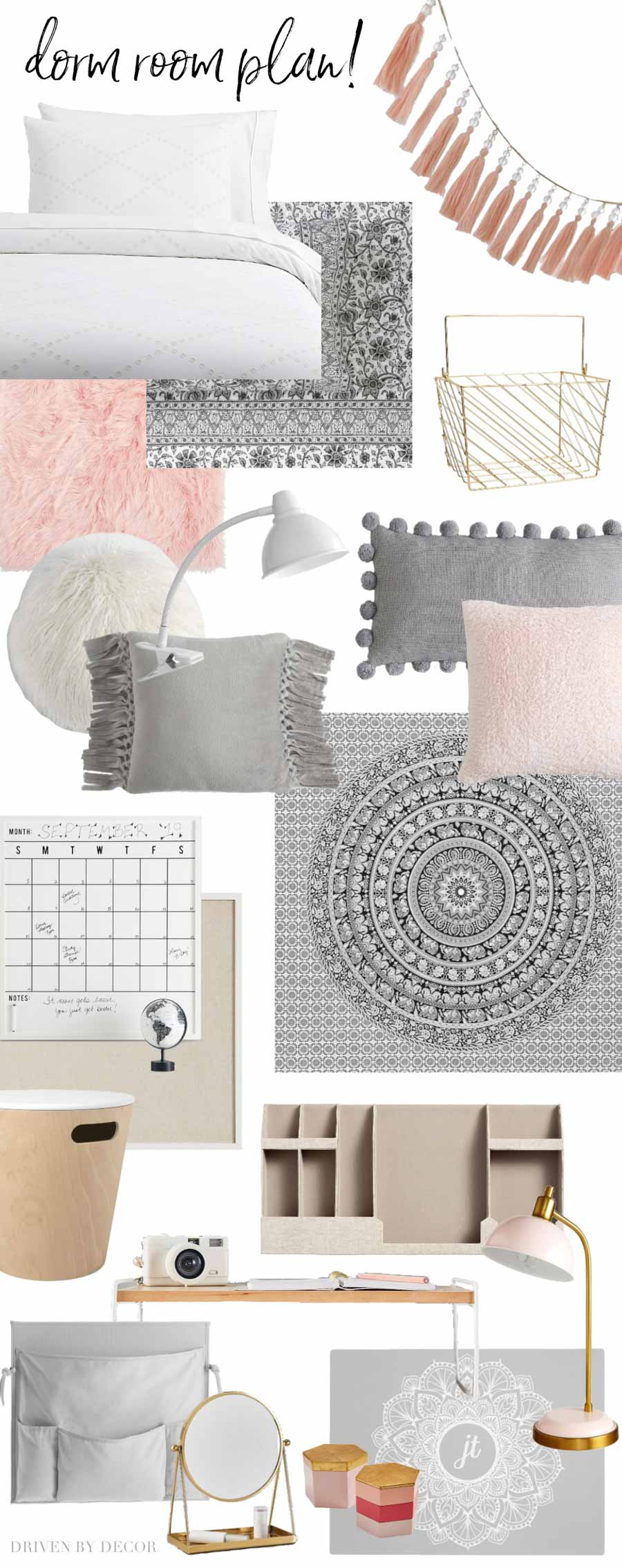 Girls dorm room plan! Getting lots of decorating ideas from this post!!