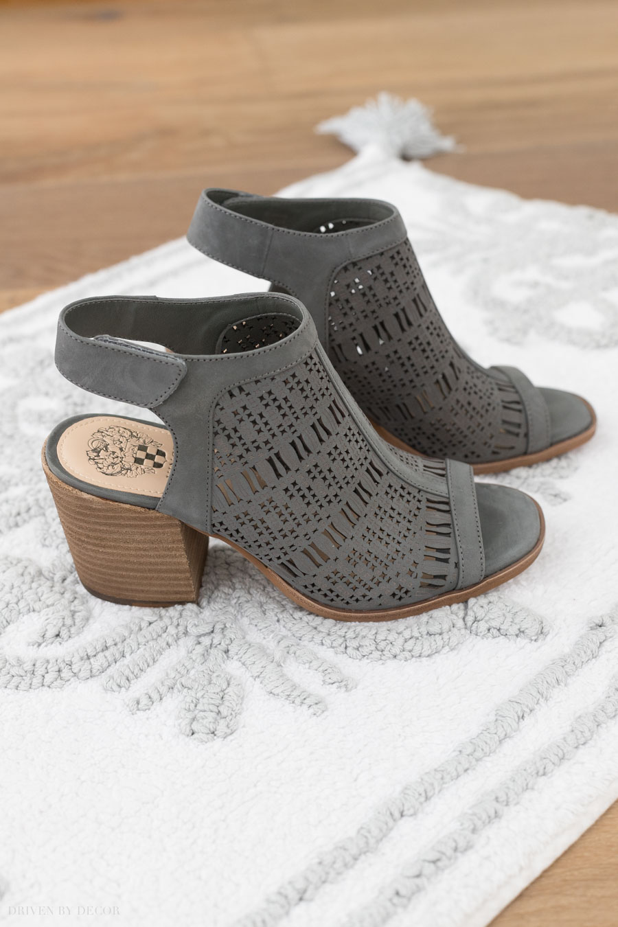 My favorite fall sandals! Love the deep gray color and heel height!