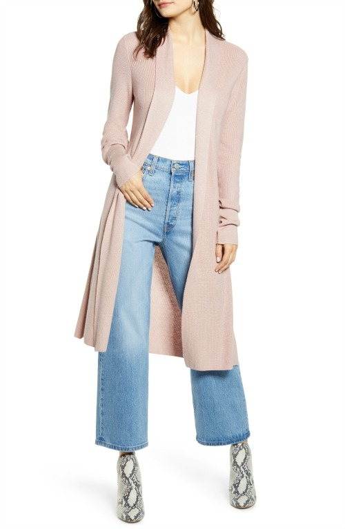 LOVE this long blush sweater! Comes in other colors too!