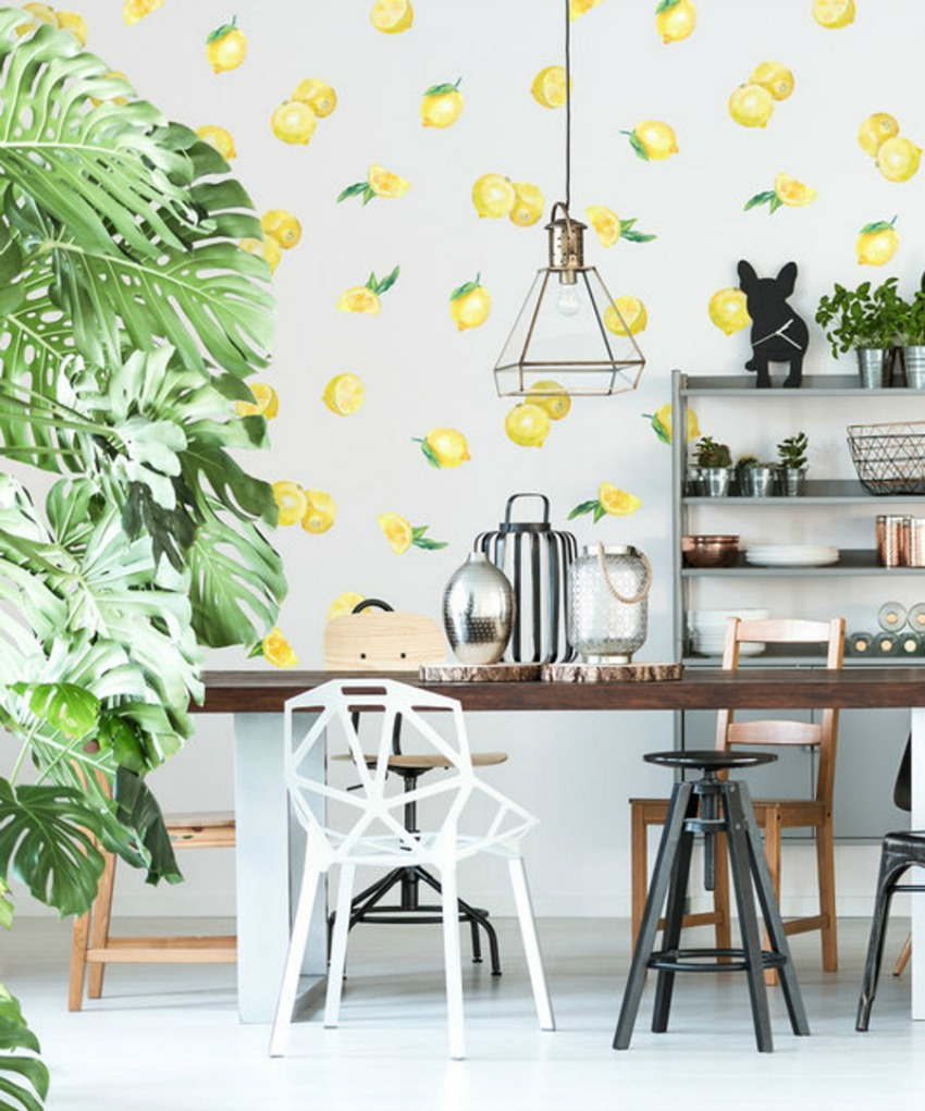 LOVE these removable vinyl wall lemon decals! Easier and cheaper than wallpaper!