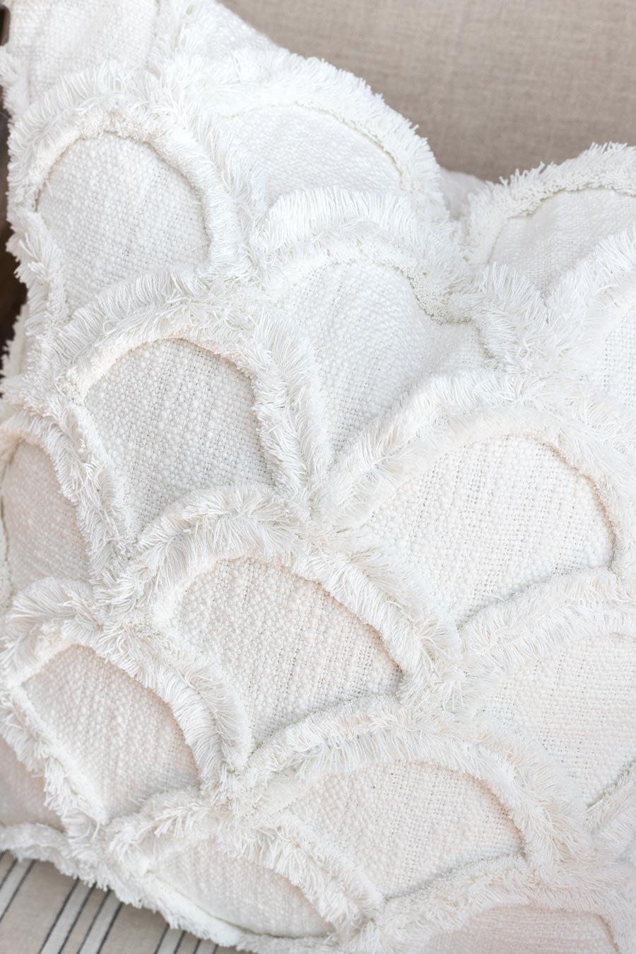 Close up of my gorgeous new white throw pillow - love!