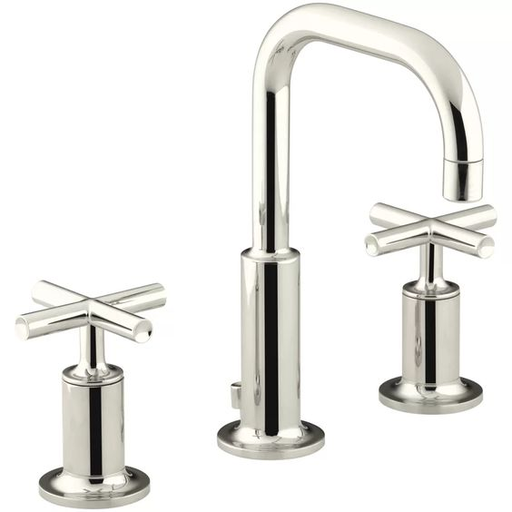LOVE this cross handled high arc bathroom faucet!!