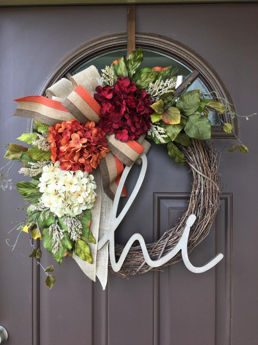 "Gorgeous fall wreath for your front door! Love the ""hi"" but can also do monogram instead!"