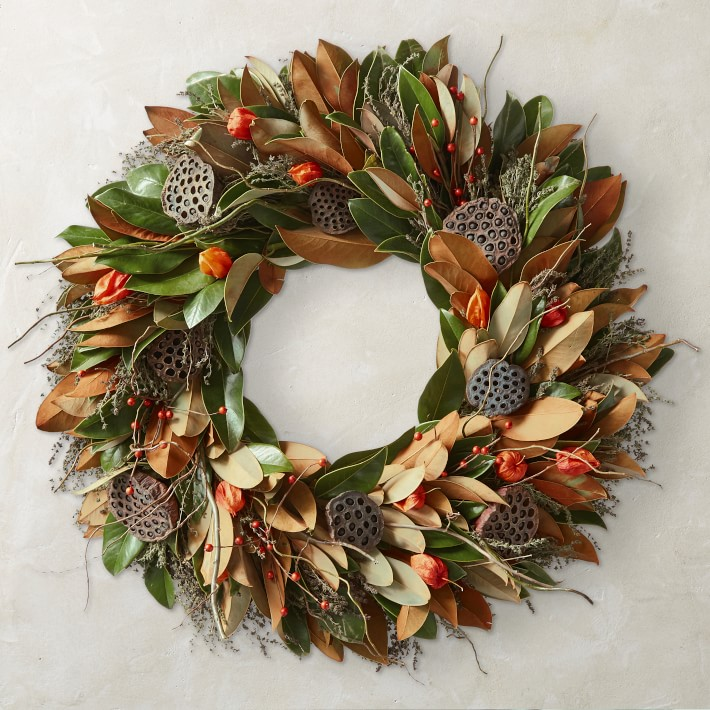 This fall magnolia wreath is absolutely gorgeous for your fall front door! Comes in three size options!