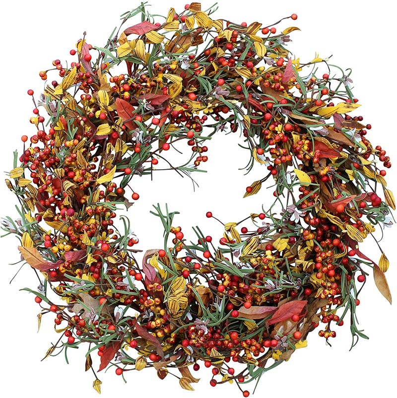 A gorgeous fall wreath with berries and glowing reviews!