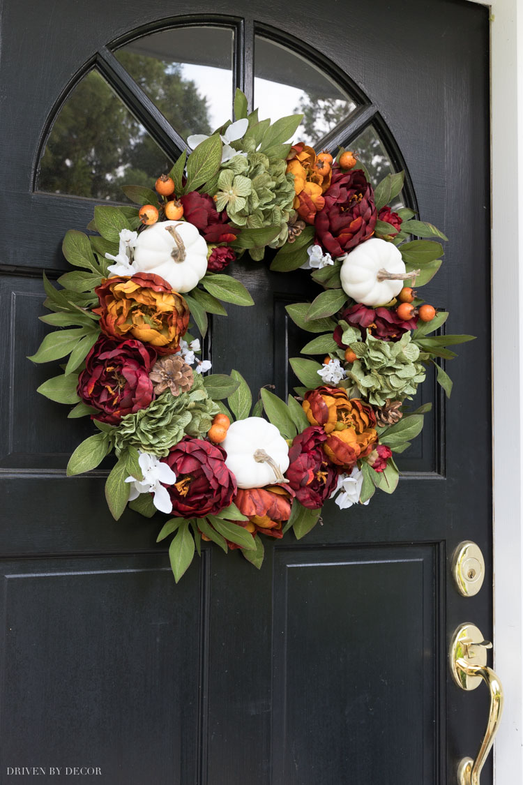 LOVE this fall wreath and so many others in this post! Perfect for my front door!
