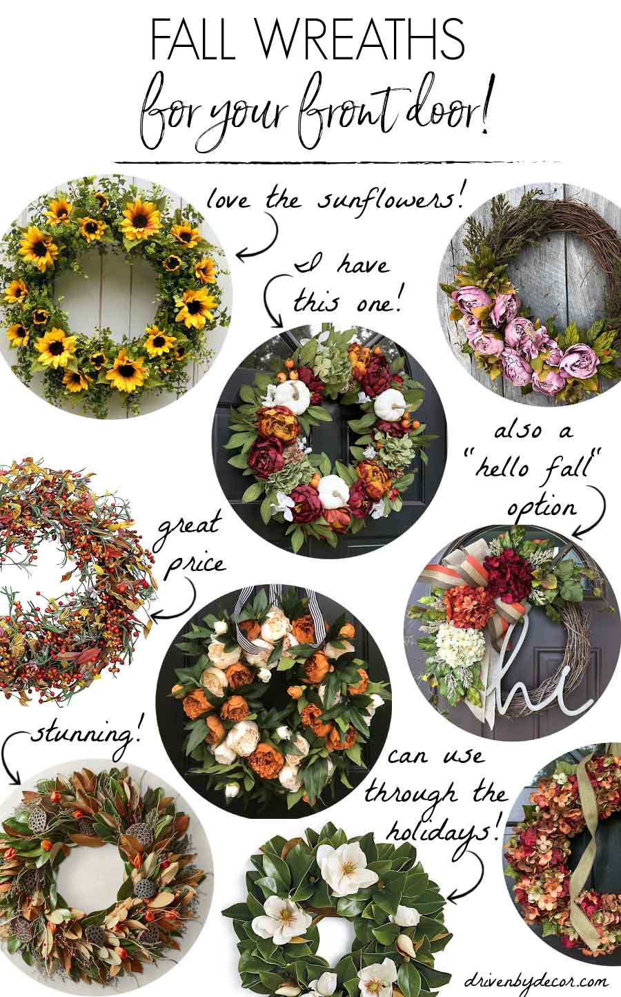 Fall wreaths for your front door - so many gorgeous options!