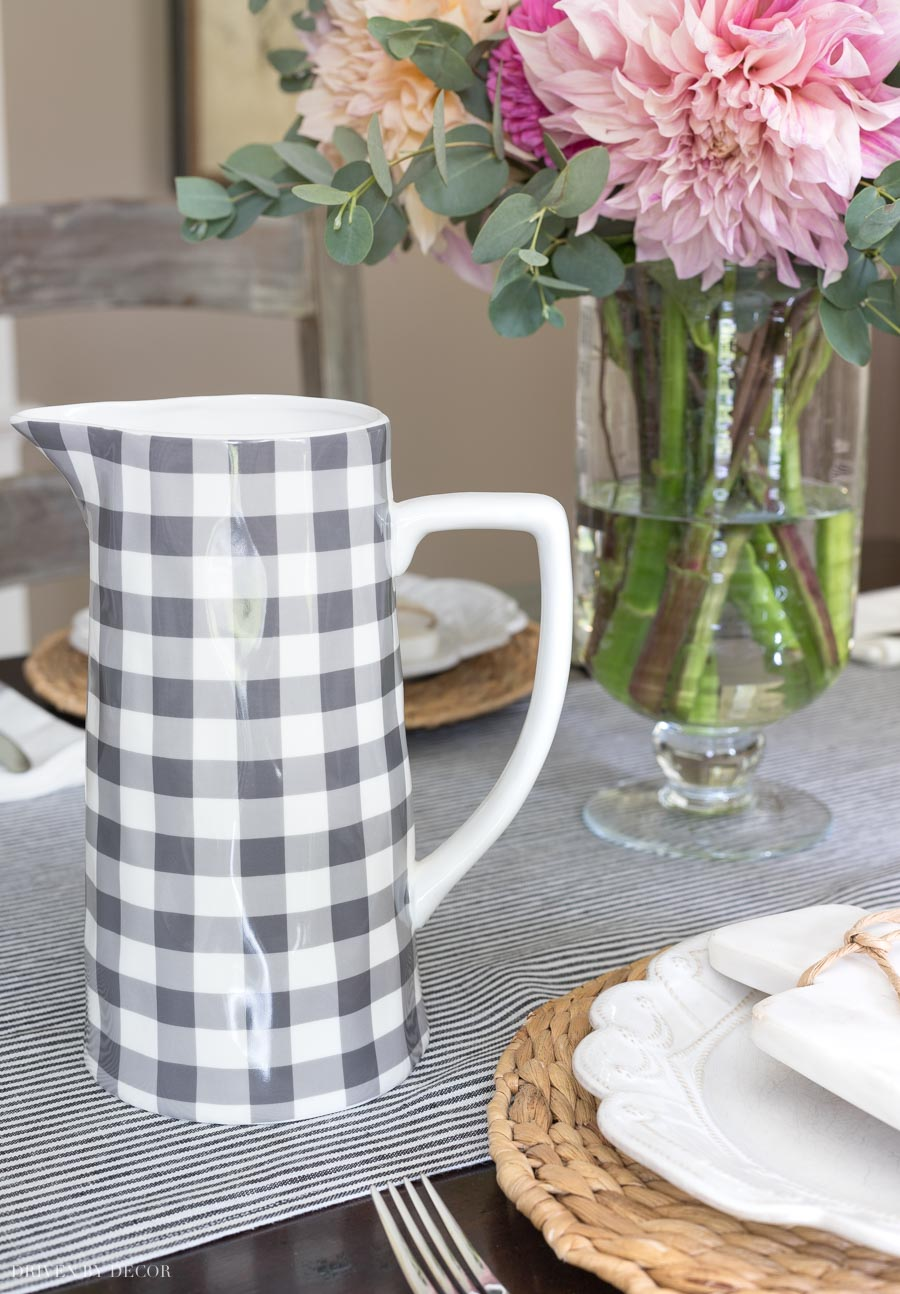 The cutest gray and white checked pitcher! Source linked in post!