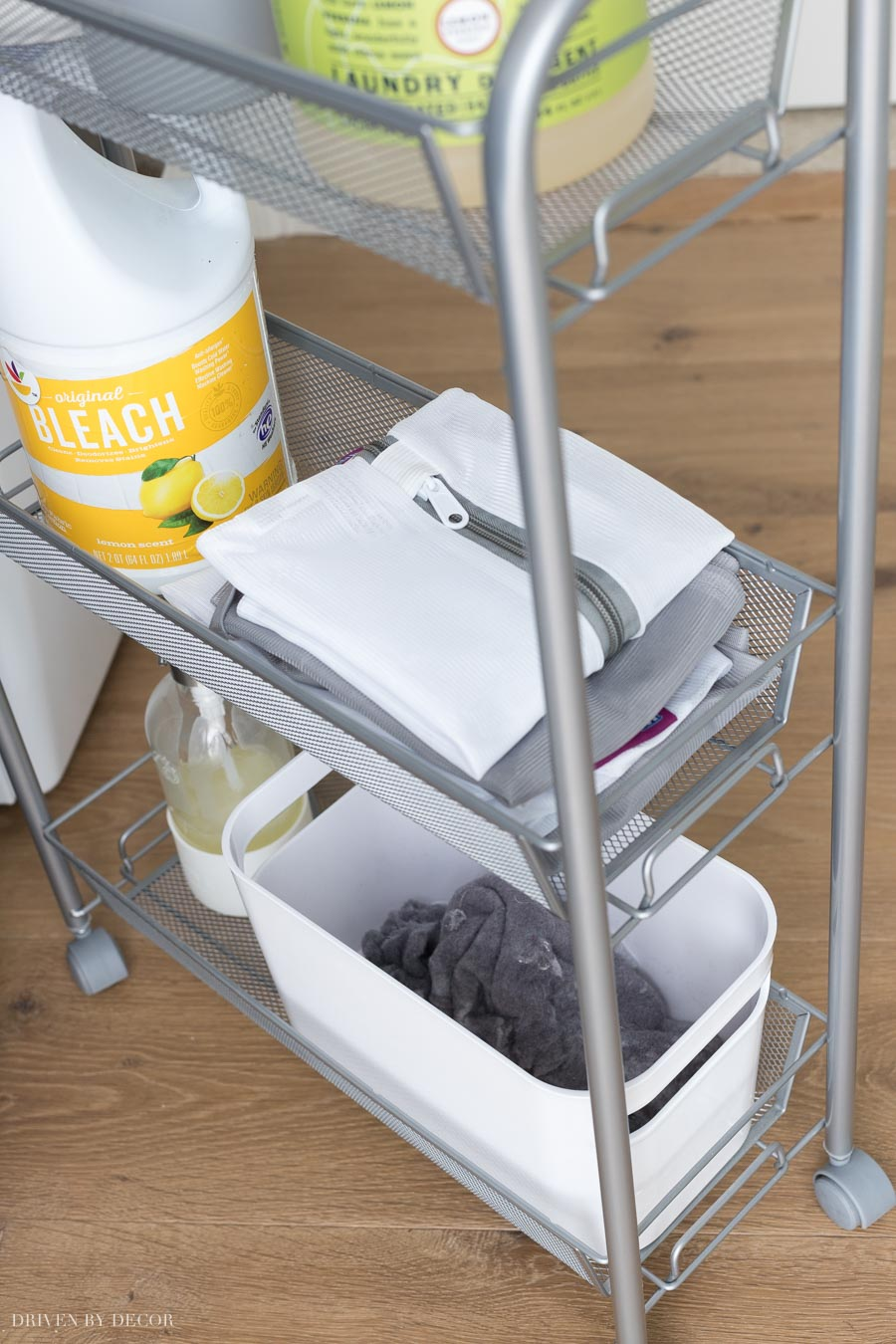 Having this rolling cart to store detergent, delicate laundry bags, and even a bin for lint is a life saver!