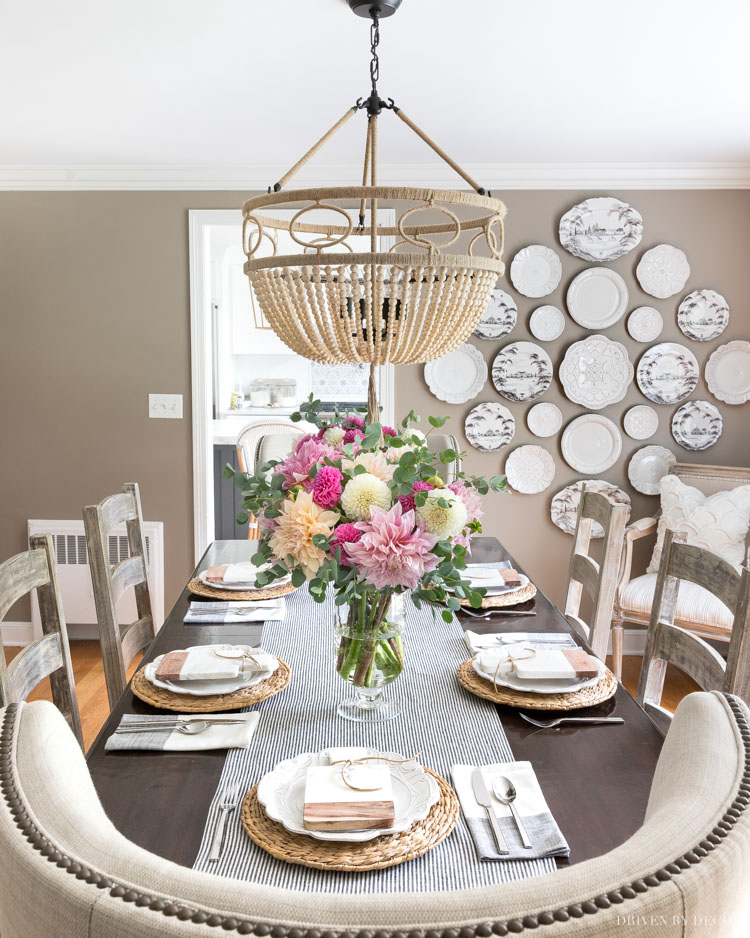 I LOVE our new dining room beaded chandelier with rope detailing! This and other favorite finds are linked in my post!