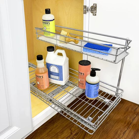 Love how this fits in that tricky space under the sink for easy to access storage!