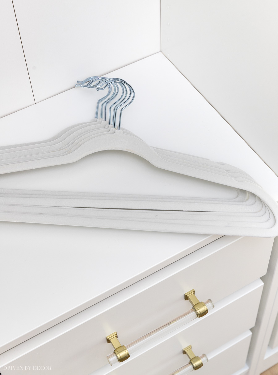 Space saving hangers are a must-have for small closets!!