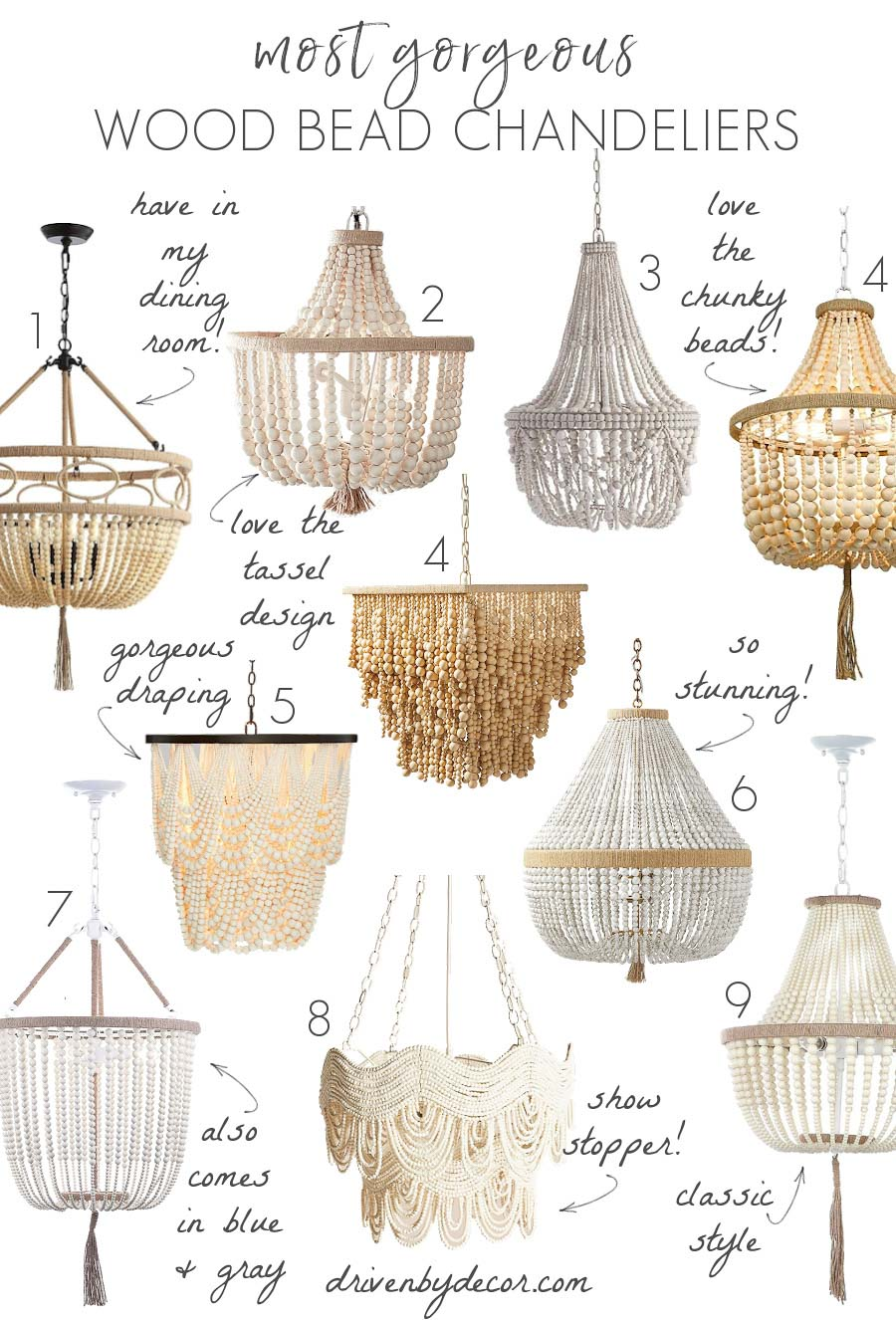 Looking for a wood bead chandelier? These are my favorites I found in my search!