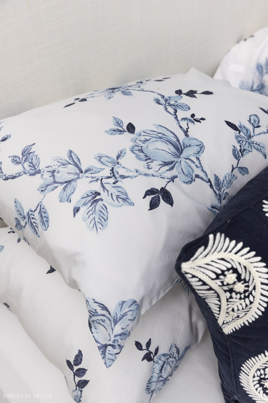 Love this gorgeous pattern of blue and white flowers for sheets or a duvet!