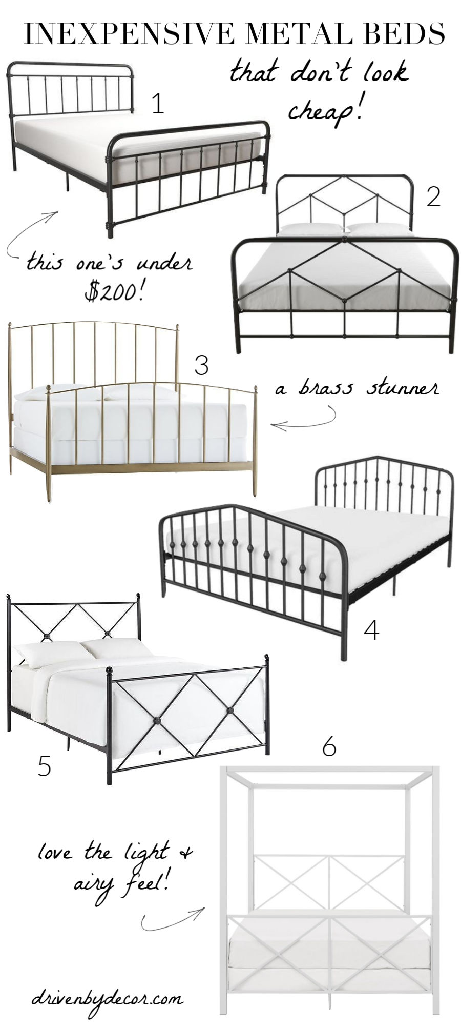 Love these gorgeous iron & metal beds that are pretty cheap but super stylish!