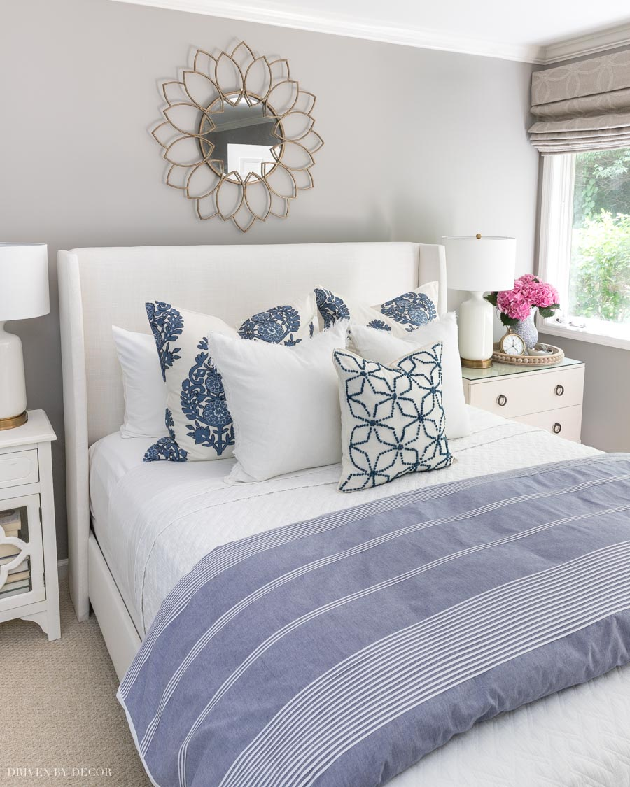 "Love these formulas for how to arrange pillows on a queen bed. This ""classic"" look is my favorite!"