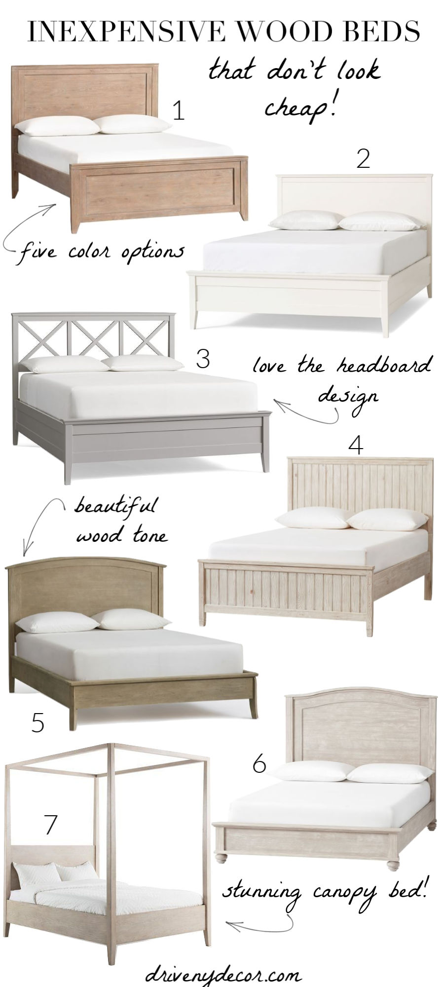 LOVE all of these wood beds that are so much cheaper than you'd expect!