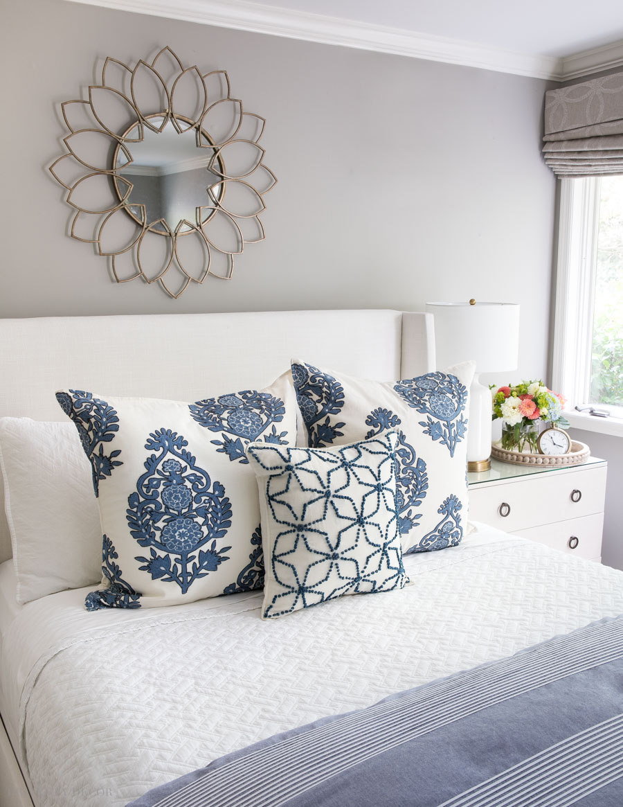 These are the prettiest pillows! Love how this post has so many ideas for arranging pillows on queen beds!