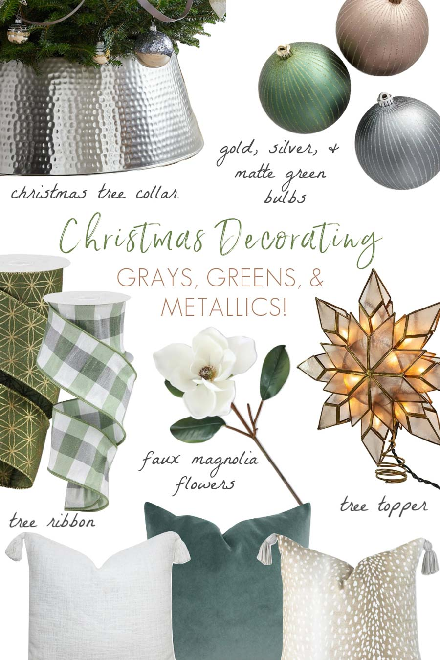 My Christmas decorating plans with grays, greens, & metallics!