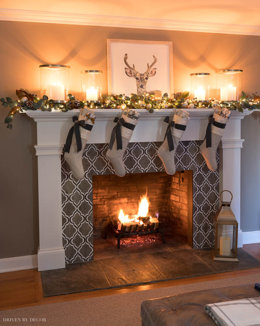 Love this Christmas fireplace mantel!