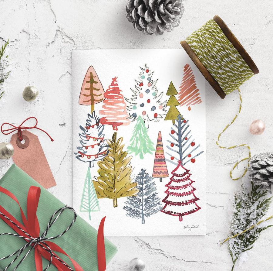 Darling Christmas tree art print!