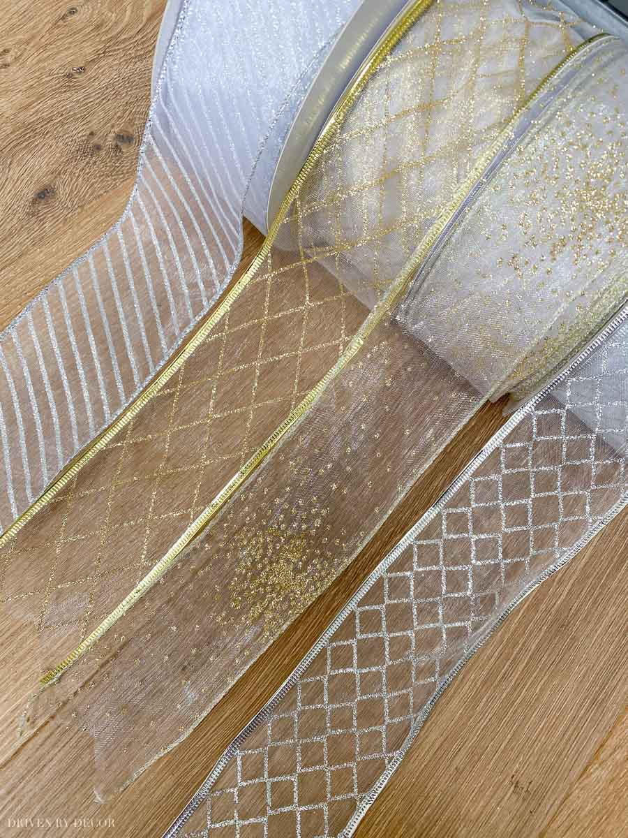 Gorgeous sheer wired ribbon options for decorating your Christmas tree or packages!