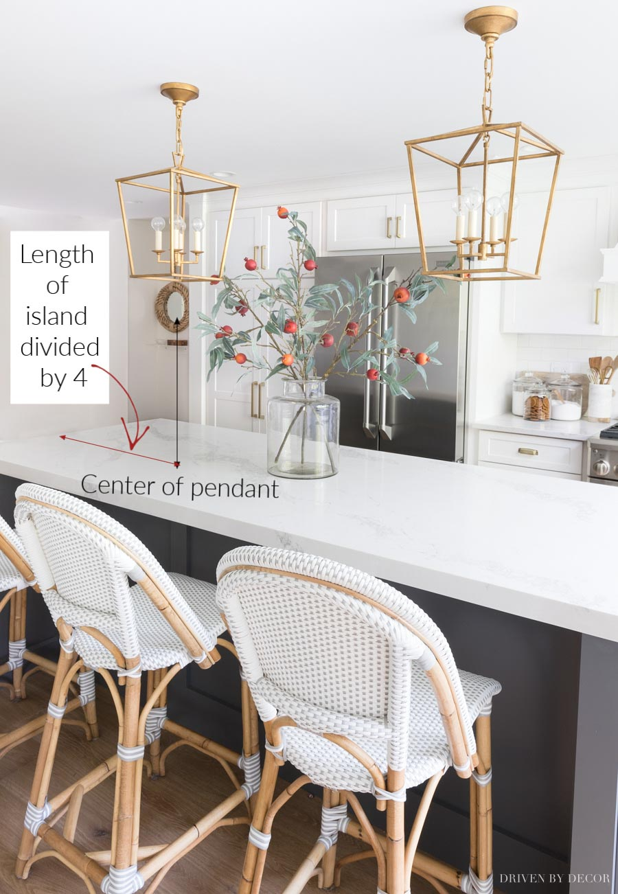 The best tips for hanging pendants over your kitchen island including how far apart to hang them!