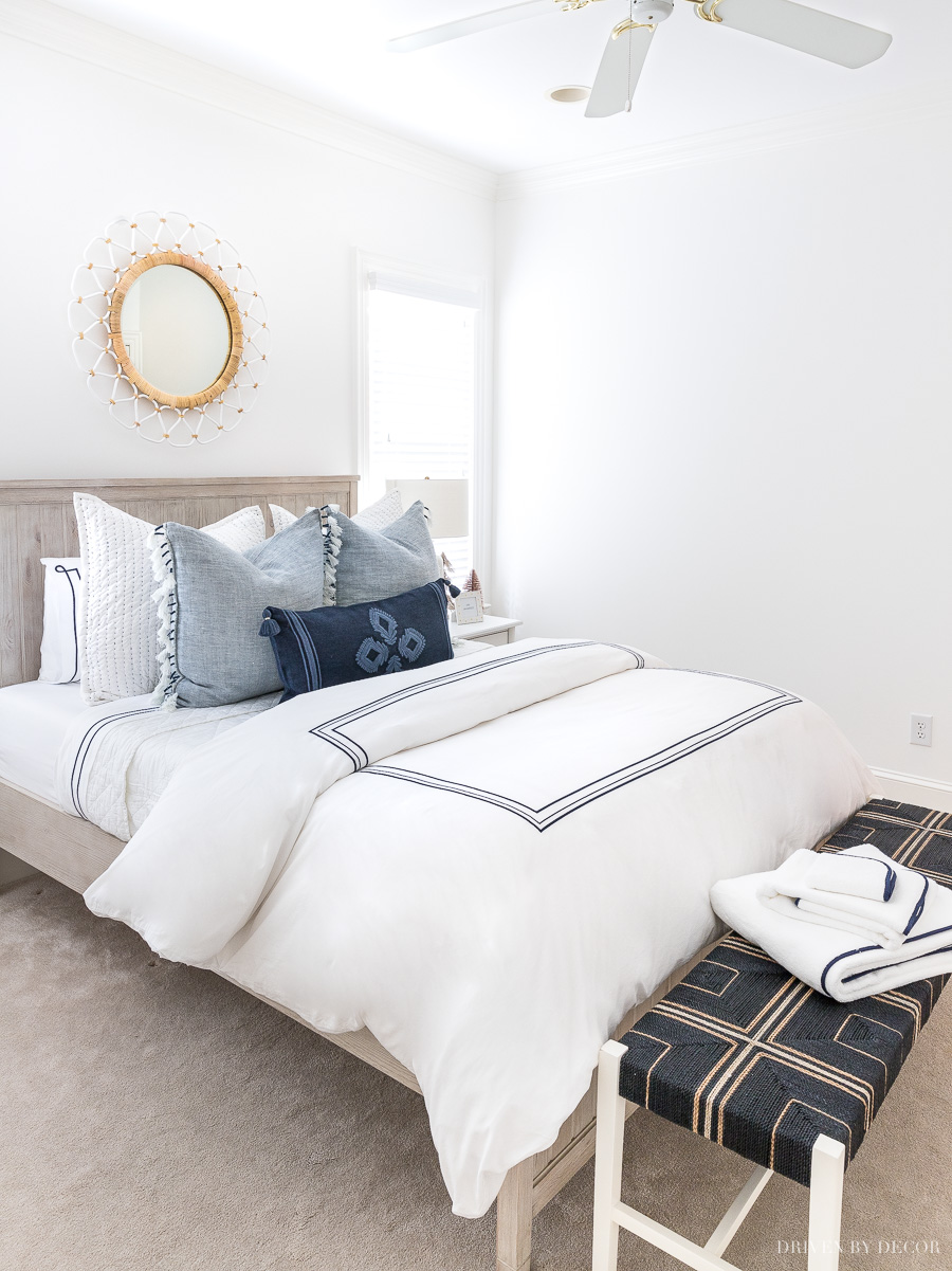 Take a tour of our newly made-over blue and white coastal guest room!