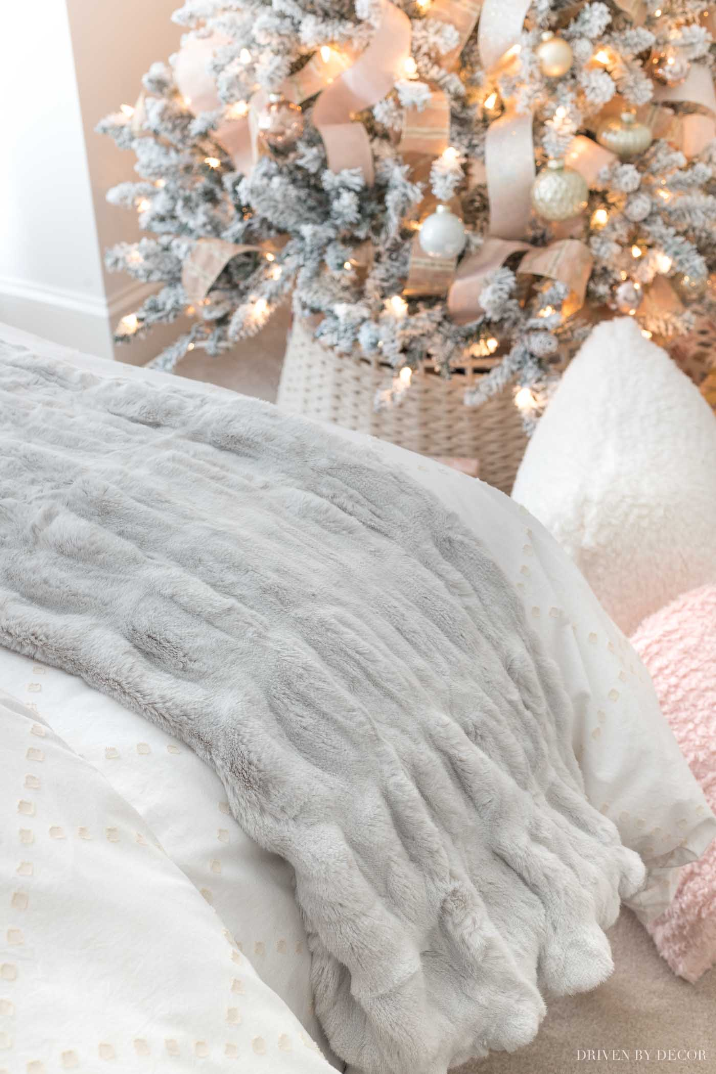 Super soft faux fur throw that's one of the great Christmas gift ideas for teens in this post!