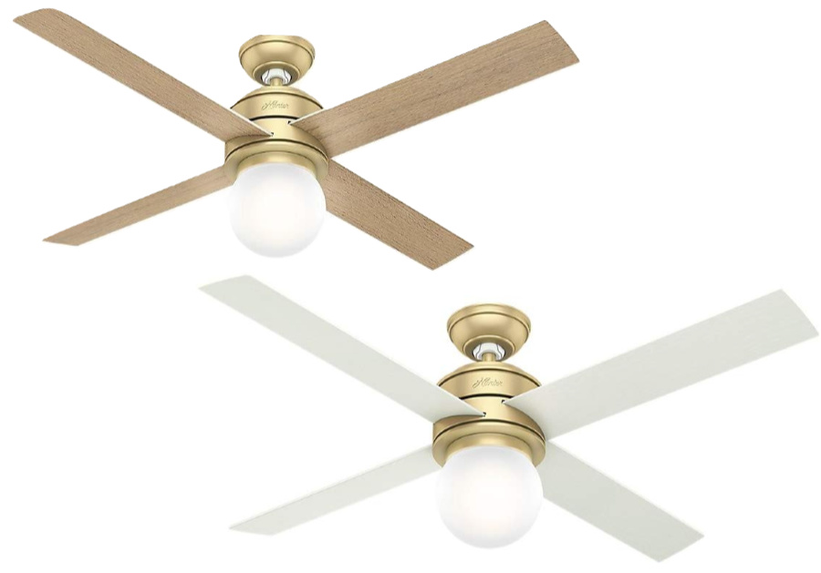 Such a pretty ceiling fan - love the globe light and reversible blades!