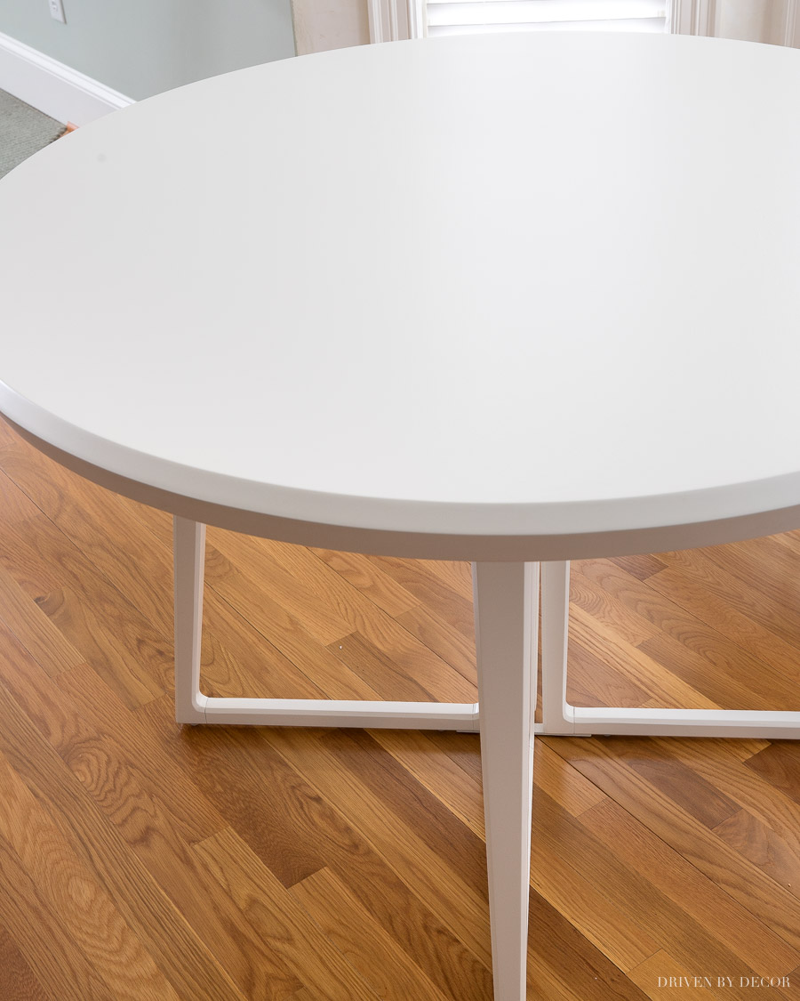 Our new round white kitchen eat-in table - love!