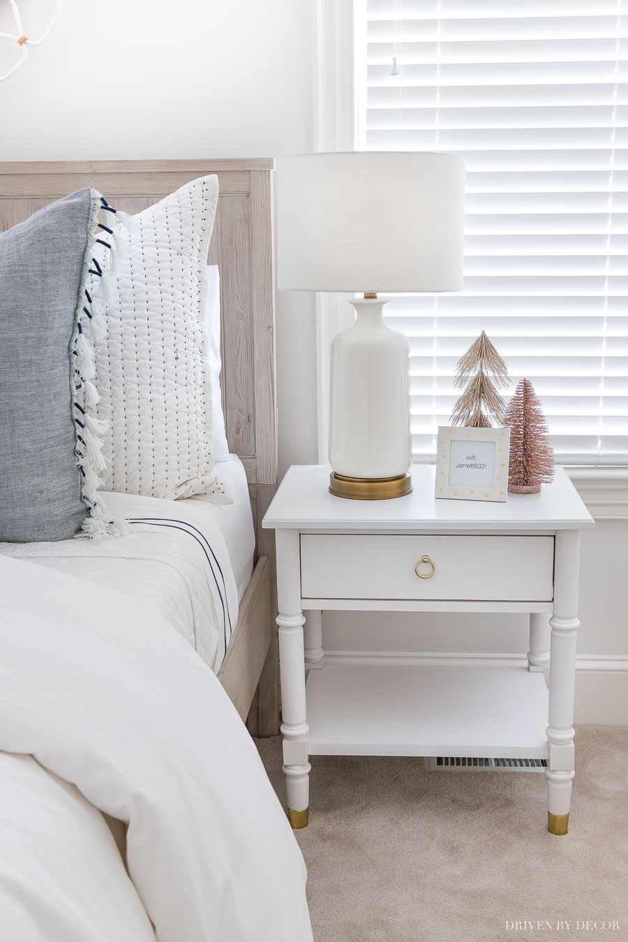 Super cute white nightstand - details are linked in the post!