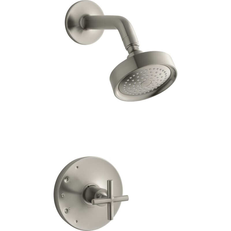 Love this Kohler shower head and cross handle!