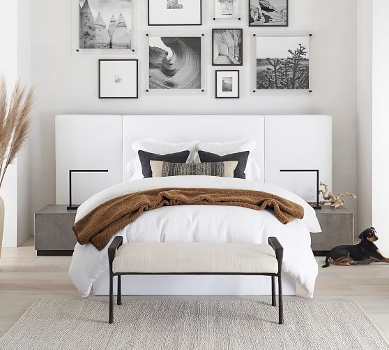 Upholstered panel beds are definitely on trend for 2020! Other decorating trends are in the post once you click through!