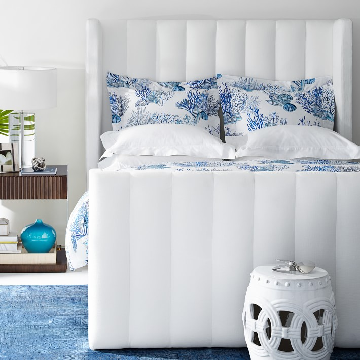 Gorgeous channeled headboard and footboard - definitely a trending bed design for 2020!