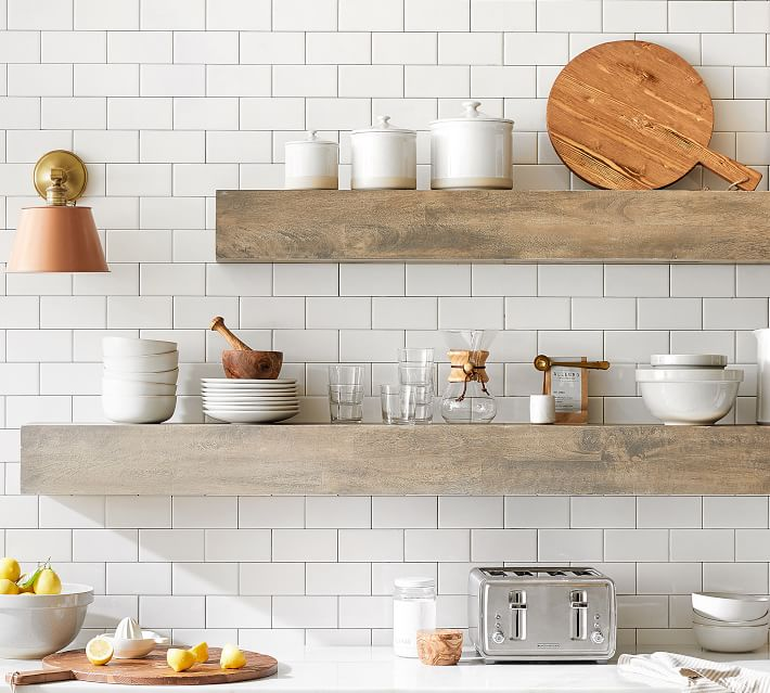 Gorgeous open shelving made with mango wood which is a trending material in 2020!
