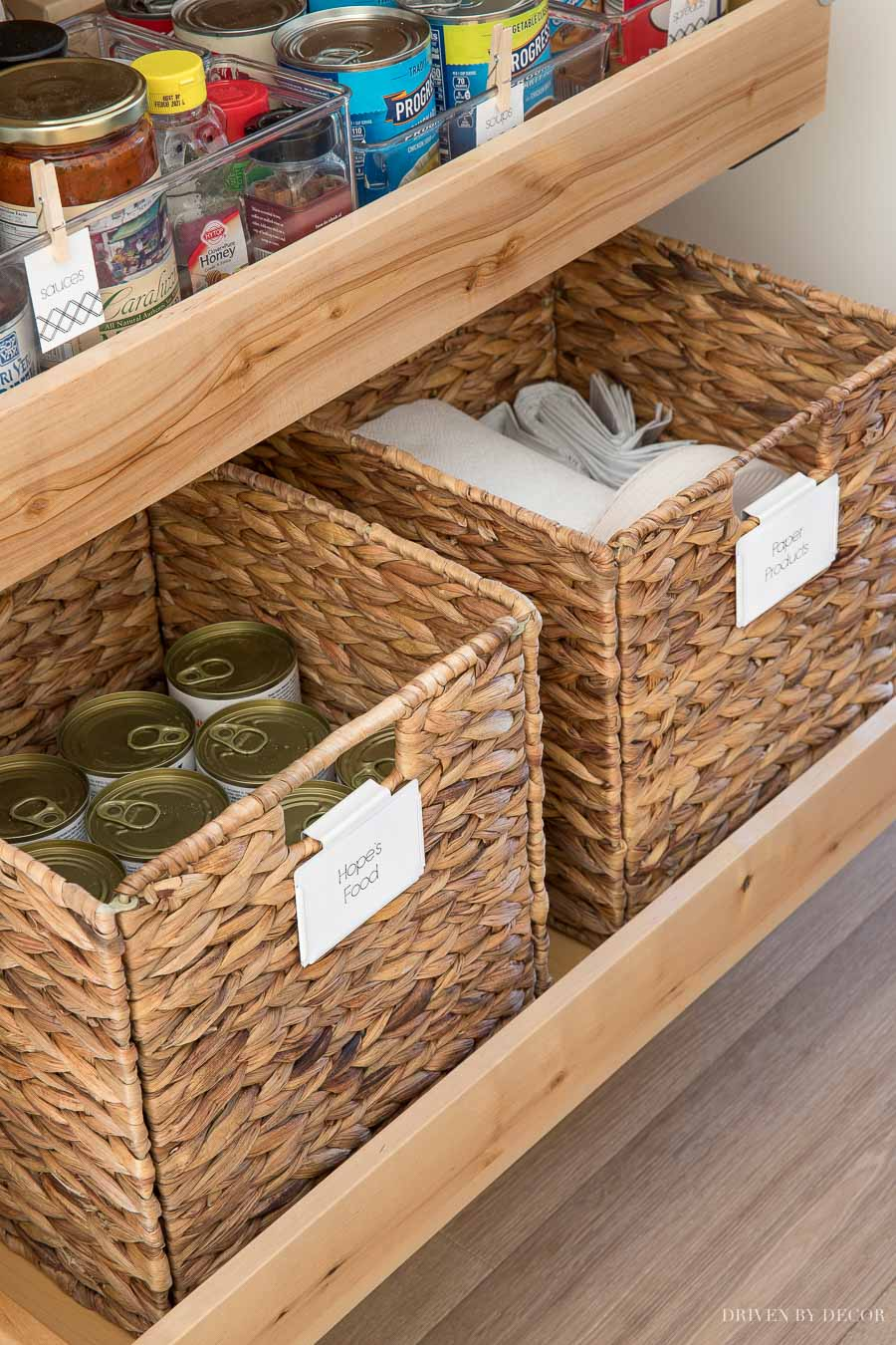 The woven baskets are awesome for storage of canned food and paper products in our pantry!