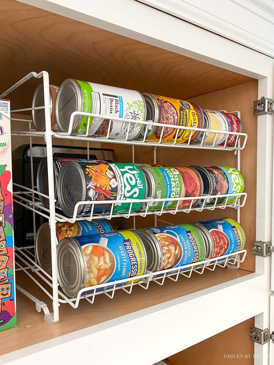 Such a great pantry organization idea for storing cans!!!