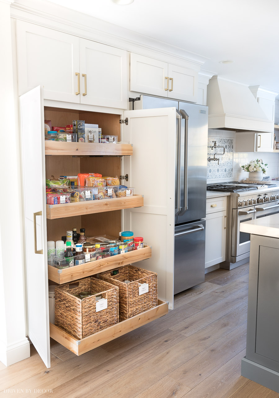 Pantry organization ideas from our kitchen's pantry cabinet with pull-out drawers!