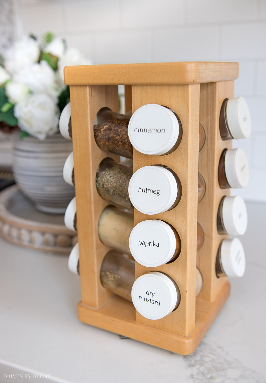 Love the idea of keeping spices on a spinnable rack to access easily in the pantry!