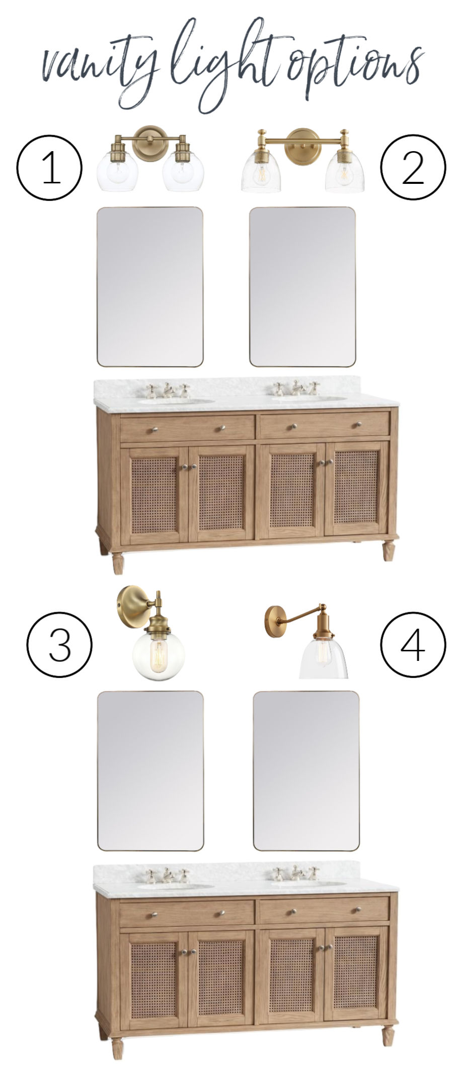 Four beautiful sconce lighting options for above a bathroom vanity!